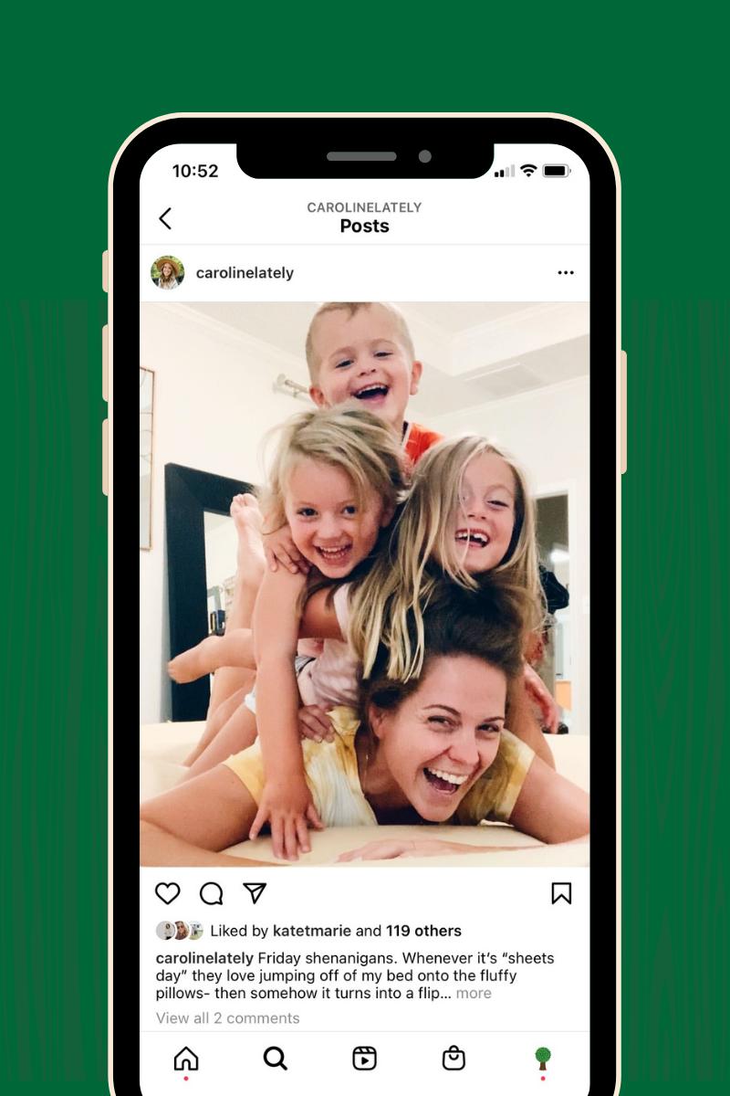 Instagram account mom @carolinelately pictured with three children